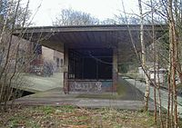 A brick building missing windows, projecting canopy and graffiti. Tree saplings and vegetation grow from the platform surface.