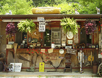 West Virginia Route 2 - A roadside hot dog stand, Hillbilly Hot Dogs, located along WV 2 in Lesage.