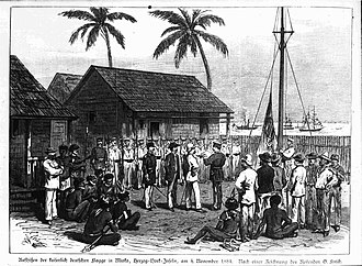 Hoisting of the German flag at Mioko, German New Guinea in 1884 Hissen der kaiserlichen Flagge auf Mioko.jpg
