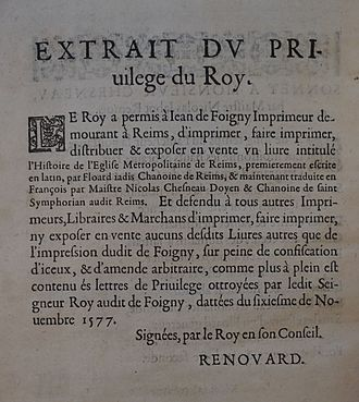 Copyright law of France - 1580, royal printed patent, Carnegie Library of Reims.