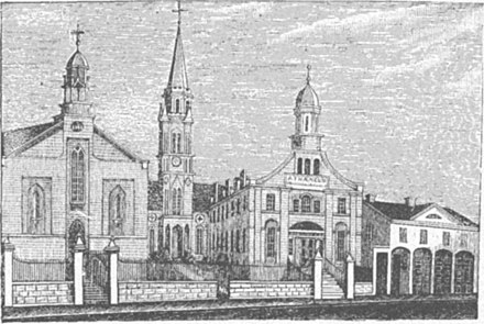 St. Xavier Church, bishop's residence, and St. Xavier College in 1848