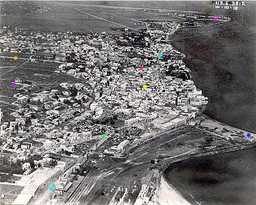 צילום אוויר של חיפה משנת 1918