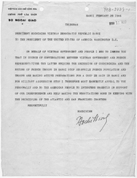 Telegram from Hồ Chí Minh to U.S. President Harry S. Truman requesting support for independence (Hanoi, Feb. 28 1946).