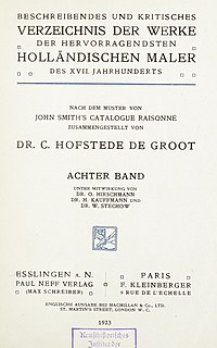 Hofstede de Groot - Beschreibendes und Kritisches Verzeichnis der Werke der Hervorragensten Hollandischen Maler des XVII Jahrhunderts, Band 8, 1923bd8.jpg