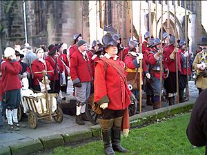 Battle of Nantwich - Members of The Sealed Knot parade outside St Mary's parish church, Nantwich for the 2006 Holly Holy Day