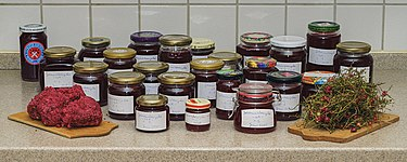 Home-made redcurrant jam - jars between pulp residue and stalks.jpg