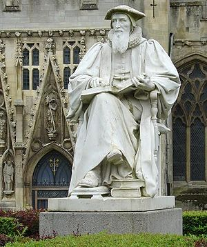Statue of Richard Hooker, whose emphases on re...