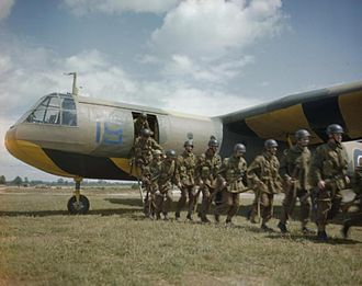 """Airspeed Horsa - The black diagonal bands on the yellow underside of the glider denote """"I am towing/being towed"""" and was a warning to other aircraft to beware the towline, and that the aircraft was restricted in its manoeuvring."""