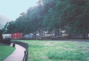 Logan Township, Blair County, Pennsylvania - Three trains passing on triple-track mainline of Norfolk Southern Railway at Horseshoe Curve in Logan Township