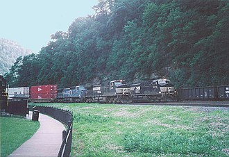 Pittsburgh Line - Three Norfolk Southern freight trains pass each other on the Horseshoe Curve in 2006.