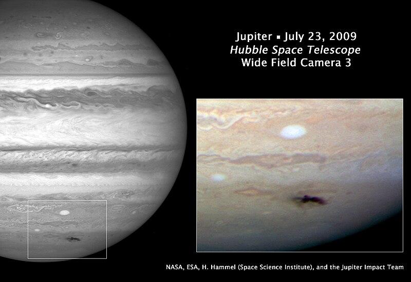 Тёмное пятно на поверхности Юпитера: предположительно след от падения кометы