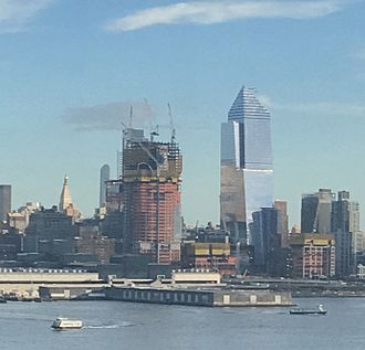 Hudson Yards (development) - View of 30 Hudson Yards (left, under construction), and 10 Hudson Yards (right, completed) in February 2017