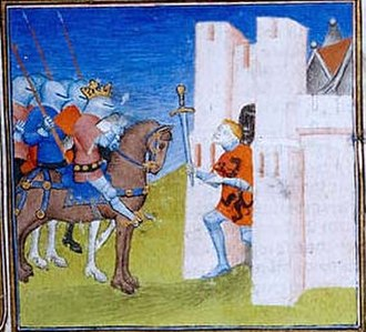 Hunald I - Late medieval depiction of Hunald surrendering the stronghold of Loches to Pippin. In fact, Pippin took the stronghold but not Hunald.