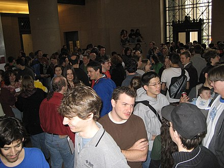 The start of the MIT Mystery Hunt in 2007 Huntbeginsinlobby7.jpg