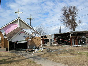 Sabine Pass, Port Arthur, Texas - Church and building severely damaged by Hurricane Ike