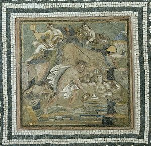 Lympha - Roman mosaic depicting the abduction of Hylas by the nymphs
