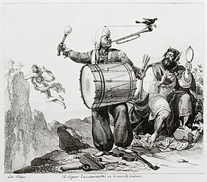 """Il signor Tambourossini, ou la nouvelle mélodie"" (1821). Combining the composer's name with tambour (French for ""drum""), this lithograph by the French artist Paul Delaroche makes clear the early Rossini's European reputation as a creator of noise, including a trumpet and drum accompanied by a magpie, several references to his early operas, [n 34] and showing him and King Midas literally trampling on sheet-music and violins, while Apollo (the god of music) makes his escape in the background.[146] (Source: Wikimedia)"