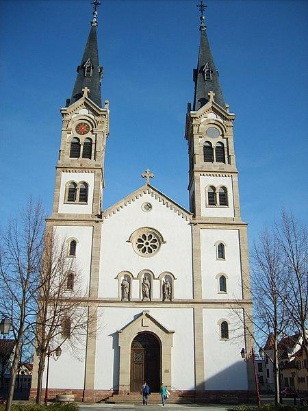 Church in Illkirch-Graffenstaden, Bas-Rhin, Alsace, France.