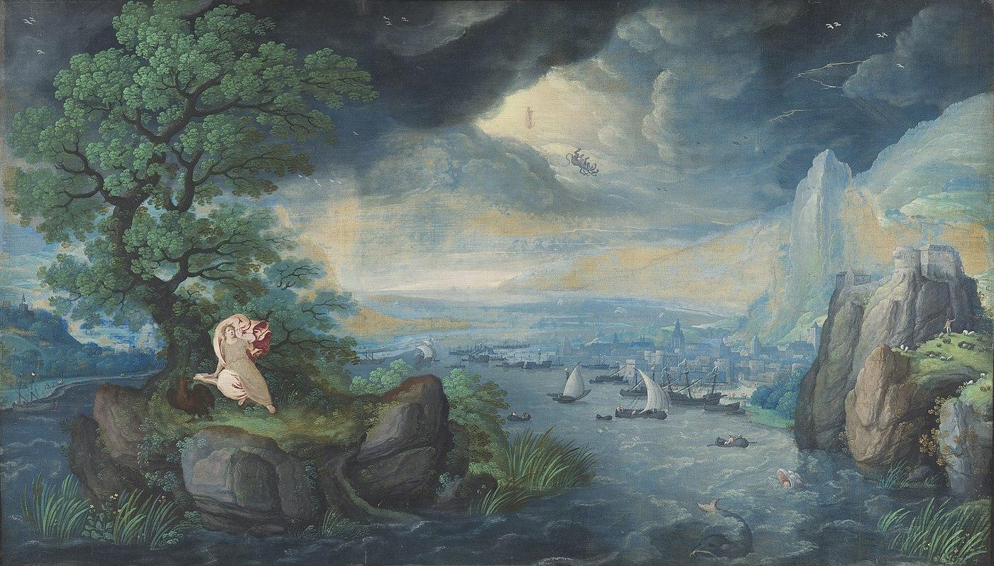 Fantasielandschap met Johannes de Evangelist op Patmos
