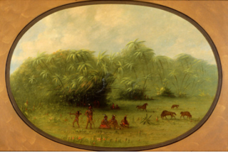 Indians and Horses in the Forest