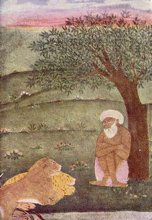 Tiger versus lion - A Mughal painting of a Dervish with a lion and tiger