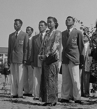 Indonesia at the 1952 Summer Olympics - The Indonesian team in Helsinki. The three athletes are in midground.
