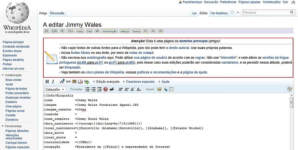 Interface de edição da Wikipédia