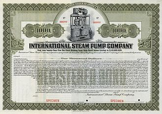 Worthington Corporation - Specimen 1909 $1,000 bond issued by the International Steam Pump Company of New Jersey