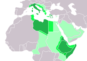 Spazio vitale - Italian Empire, to be realised with the policies of Spazio vitale. In light green the territories of the projected Imperial Italy.