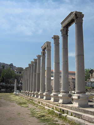 View on the agora : columns alonn the western ...