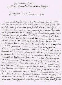 Manuskriptseite aus Deux Lettres à M. le Mareschal Duc de Luxembourg contenant une description du Val-de-Travers, Môtiers 1763 (Quelle: Wikimedia)