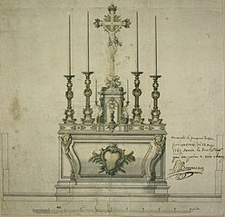 Design for a Rococo altar with tabernacle