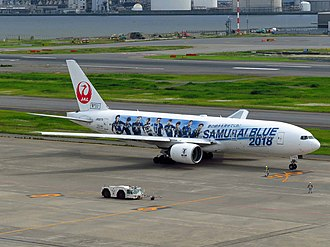 Japan national football team - Boeing 777-289 Samurai Blue Jet
