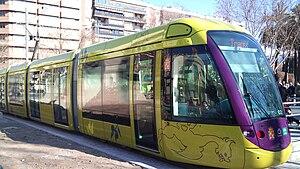 Jaén Tram - A tram in Jaén during testing in February 2011