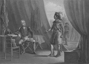 Wetumpka, Alabama - 1814: Chief Red Eagle (William Weatherford) surrenders to General Andrew Jackson at Fort Jackson in Wetumpka.