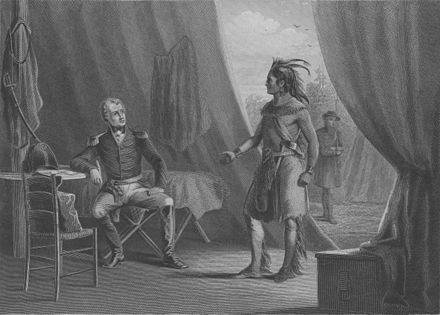 William Weatherford surrendering to Andrew Jackson at the end of the Creek War. The peace imposed on the Creek saw them cede half of their territory to the United States. Jackson and Weatherford.jpg