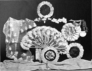 Lagetta lagetto - A selection of early 20th century Jamaican souvenir items including a woman's necktie (left), a fan (center), and several doilies, all made of lacebark with other materials. From Alfred Leader's 1907 account Through Jamaica with a Kodak.