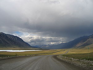 Dalton Highway - Mile 256 on the Dalton Highway, north of the Continental Divide in the Brooks Range.