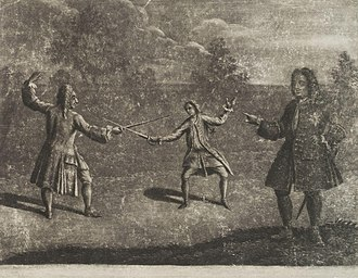 Hyde Park, London - The Hamilton–Mohun Duel of 1712. Charles Mohun, 4th Baron Mohun fighting James Hamilton, 4th Duke of Hamilton in Hyde Park; both lost their lives.
