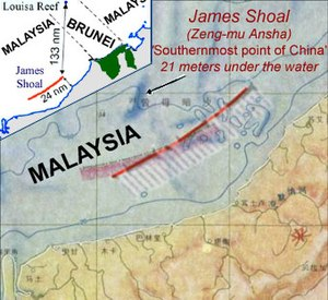Nine-Dash Line - Image: James Shoal Dash location in 2009 & 1984 maps
