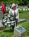 Jamie Likins laying wreath at Ezekiel grave - Confederate Memorial Day - Arlington National Cemetery - 2014.jpg