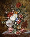 Jan Frans van Dael - Glorieuze Stilleven met bloemen op een stenen borstwering.jpg