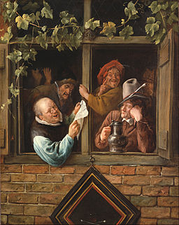 Jan Steen, Dutch (active Leiden, Haarlem, and The Hague) - Rhetoricians at a Window - Google Art Project