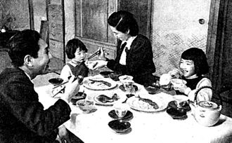 Marriage in Japan - A family meal in the 1950s.