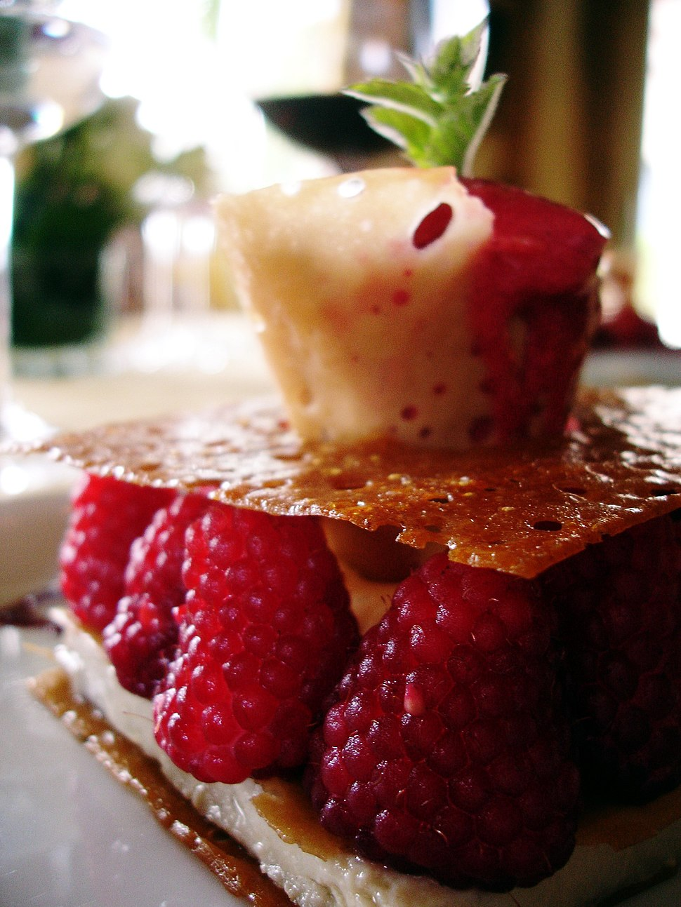 Jasmine green tea crème brûlée with raspberries