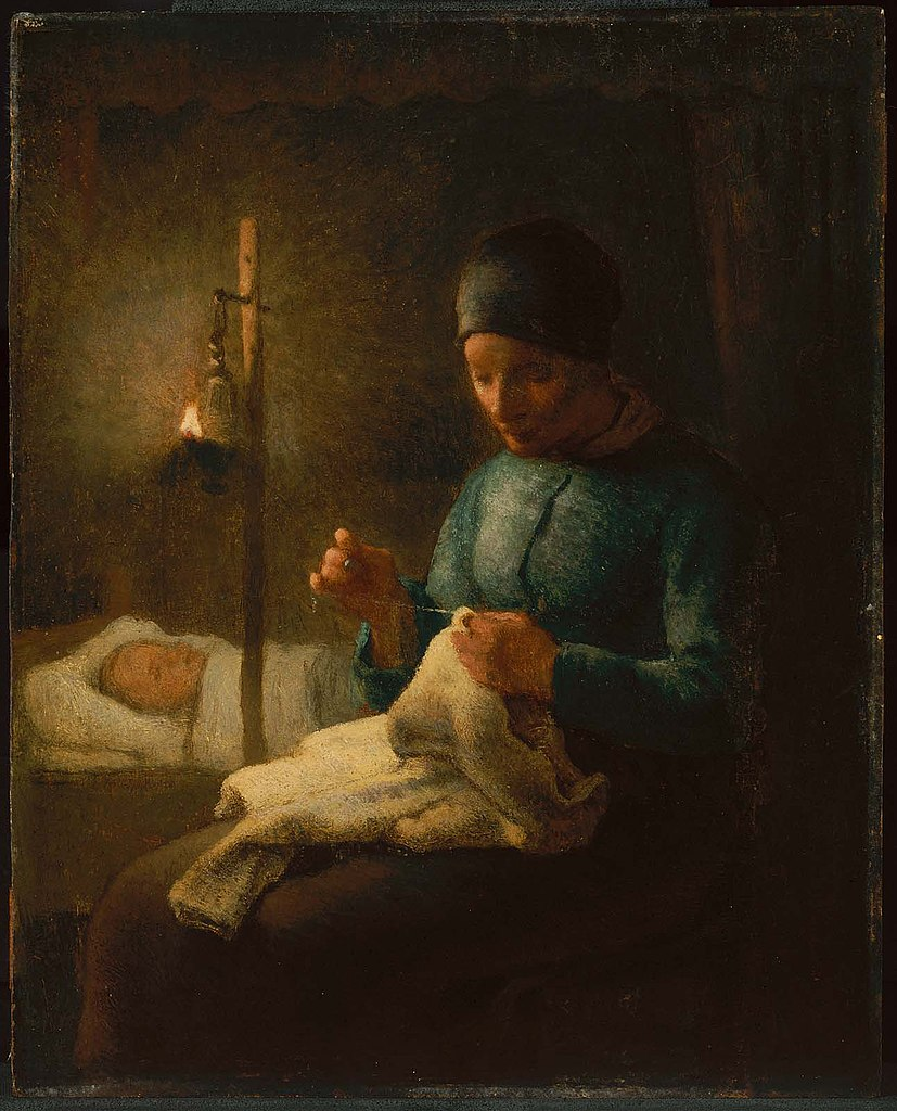 File:Jean-François Millet - Woman Sewing beside her Sleeping Child ...