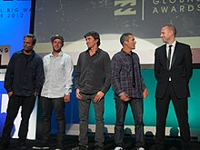 Jeff Rowley Billabong XXL Big Wave Awards 2012 Ride of the Year Finalists on stage with Garrett McNamara Ryan Hipwood Greg Long Nathan Fletcher - Flickr - Jeff Rowley Big Wave Surfer.jpg