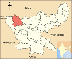 Location of Palamu district in Jharkhand