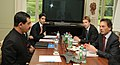 Jitendra Singh; Shri Abhinav Bindra, Indian delegation member and Olympian; Mr. Christophe de Kepper, IOC official and Mr. Jerome Poivey, IOC official, during a meeting, at the International Olympic Committee Headquarters.jpg