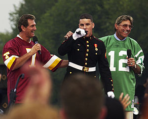 "2003 NFL season - ""NFL Kickoff"" event on September 4, 2003: Joe Theismann (L) and Joe Namath (R) at a military tribute"